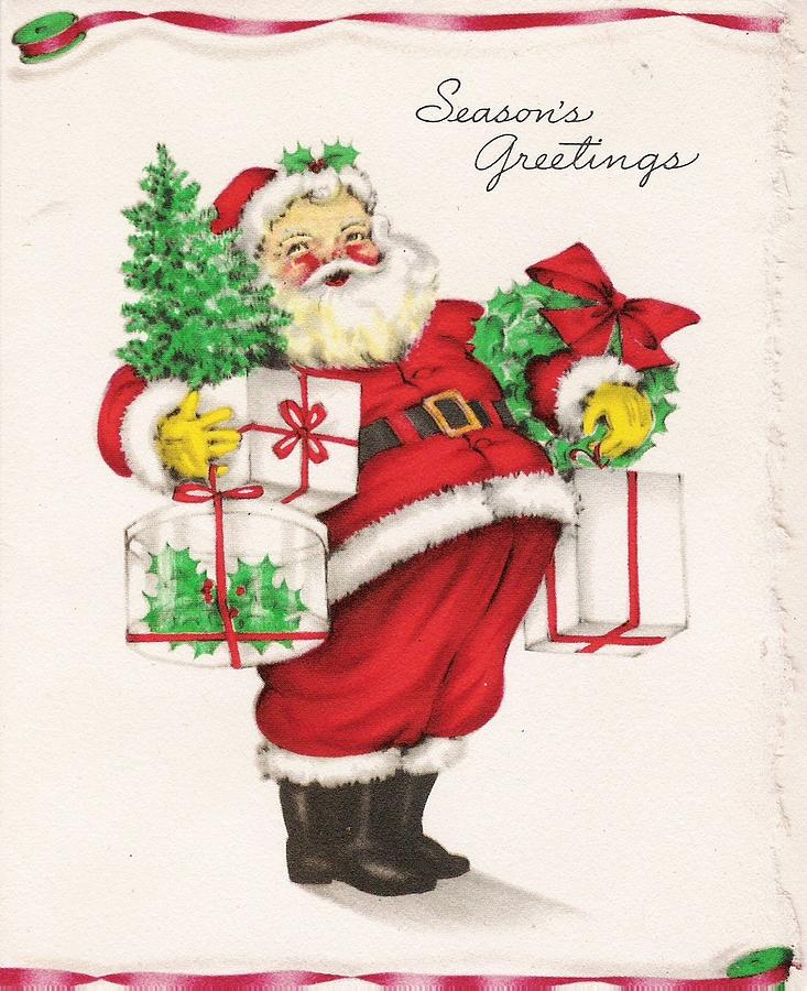 santa claus painting christmas illustration 825 vintage christmas cards santa claus with christmas - Vintage Christmas Gifts