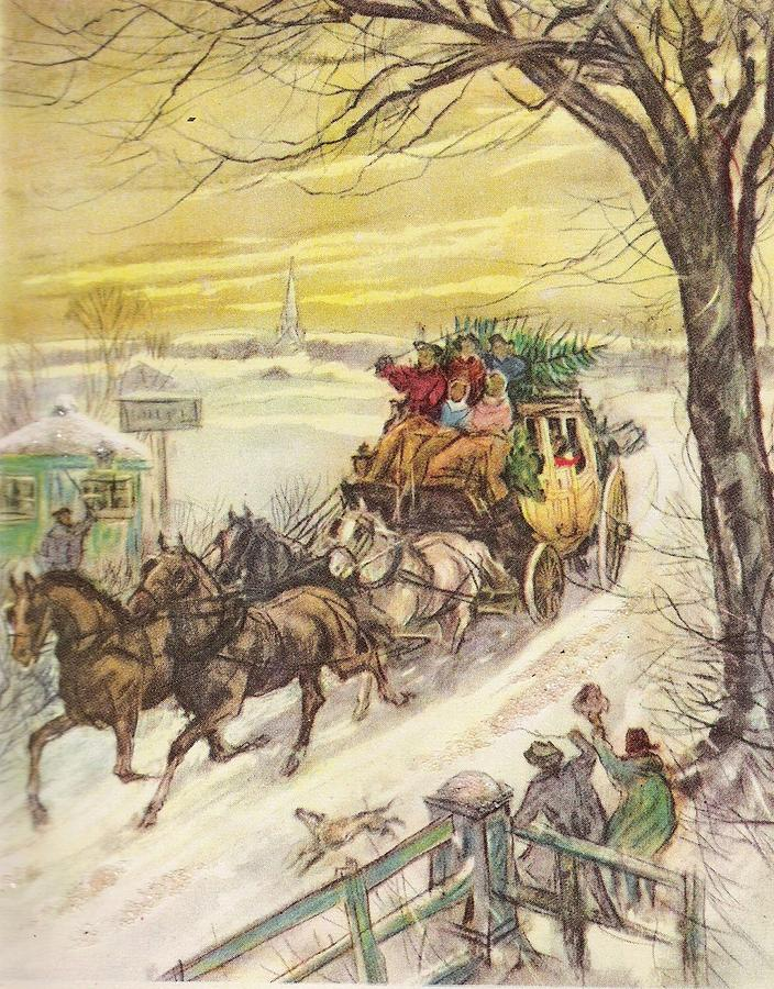 Horse Drawn Carriage Painting - Christmas Illustration 829 - Vintage Christmas Cards - Horse Drawn Carriage by TUSCAN Afternoon