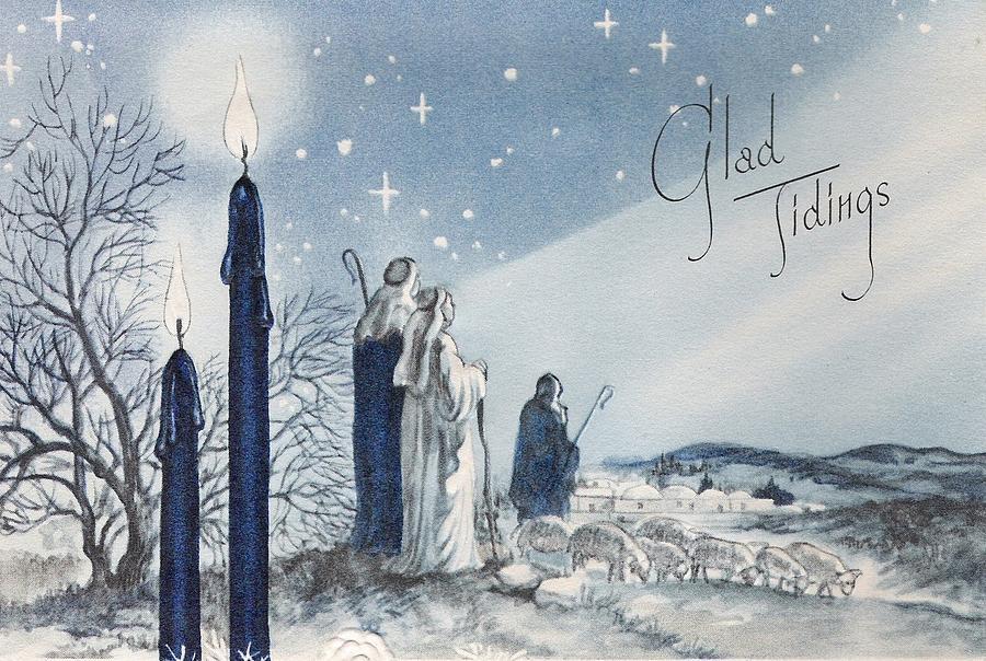 Christmas Shepherds.Christmas Illustration 834 Vintage Christmas Cards Praying Shepherds