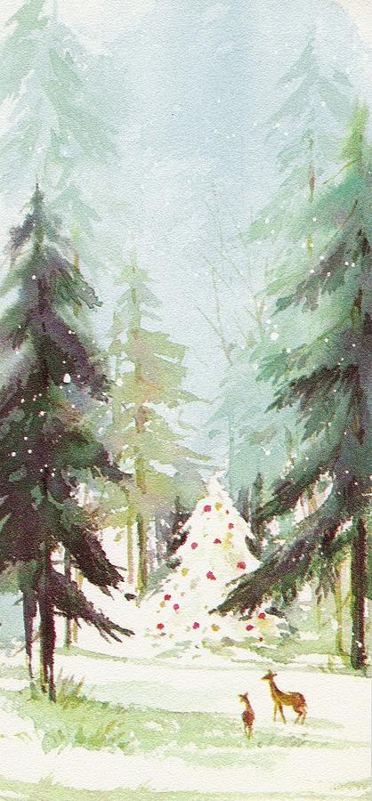 Vintage Christmas Illustrations.Christmas Illustration 867 Vintage Christmas Cards Christmas Trees