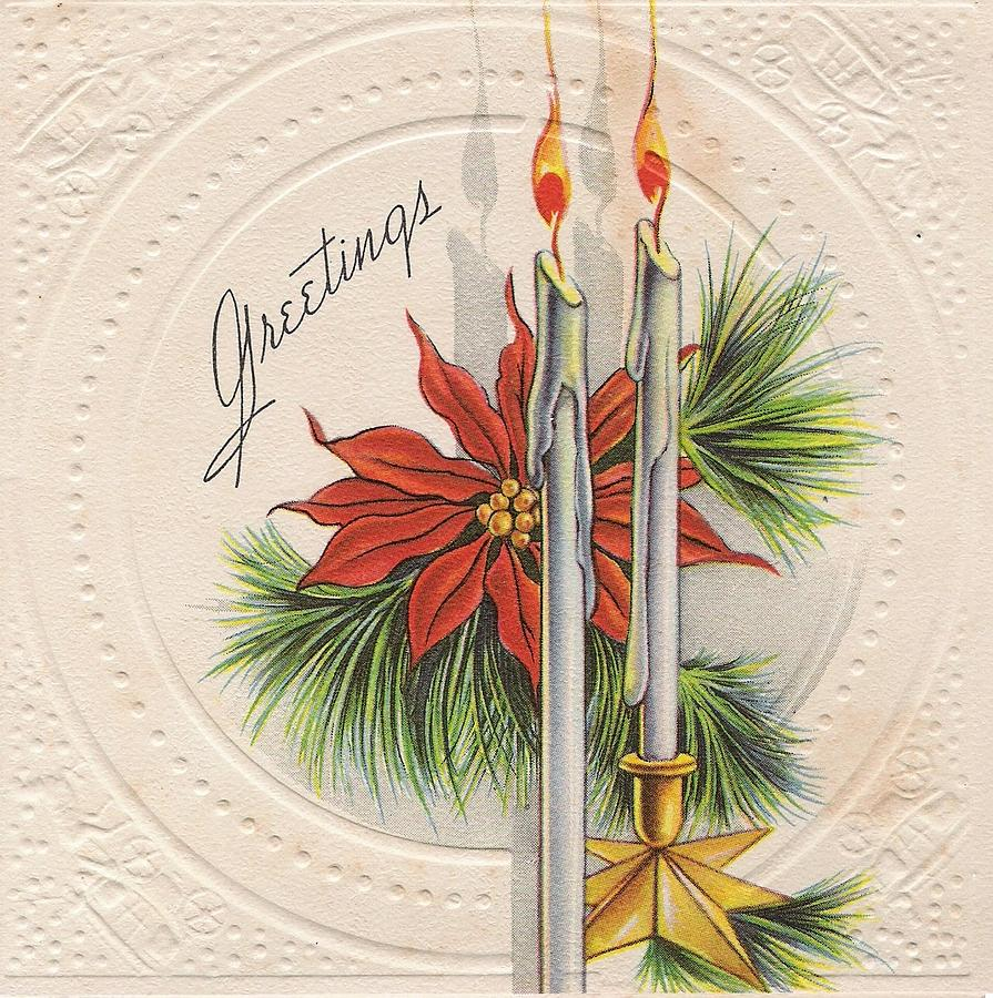 Vintage Christmas Candles.Christmas Illustration 887 Vintage Christmas Cards Christmas Candles