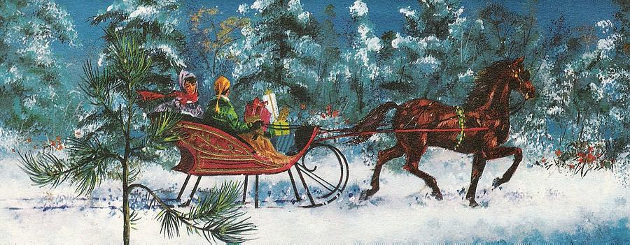 christmas illustration 89 gift box in horse drawn carriage painting