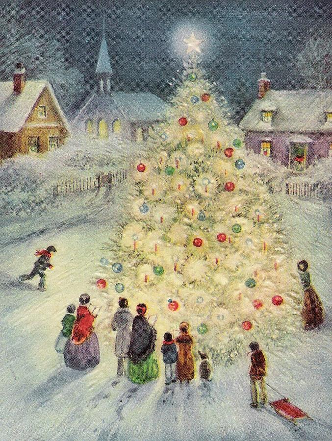 Christmas Illustration 900 , Vintage Christmas Cards , Decorated Christmas  Tree