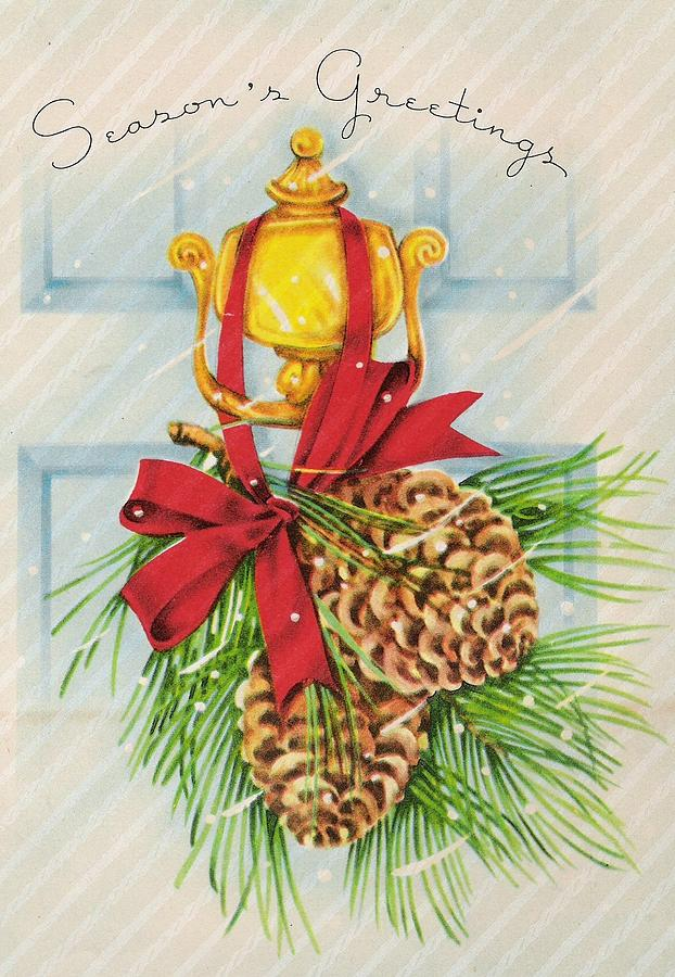 Christmas Illustration 904 - Vintage Christmas Cards - Pine On Front ...