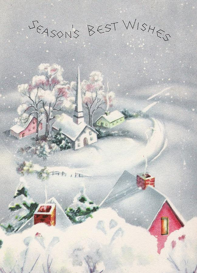 Christmas Illustrations.Christmas Illustration 909 Vintage Christmas Cards Snowy Village