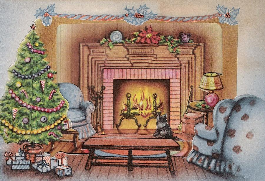 Christmas Gifts Painting - Christmas Illustration 914 - Vintage Christmas Cards - Kitten Watching Fire Place & Christmas Illustration 914 - Vintage Christmas Cards - Kitten Watching ...