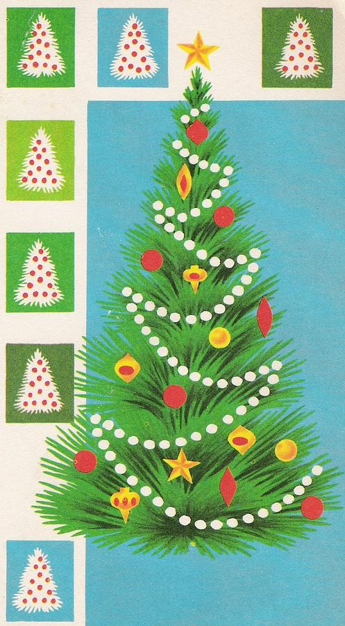 Vintage Christmas Illustrations.Christmas Illustration 950 Vintage Christmas Cards Decorated Christmas Tree By Tuscan Afternoon