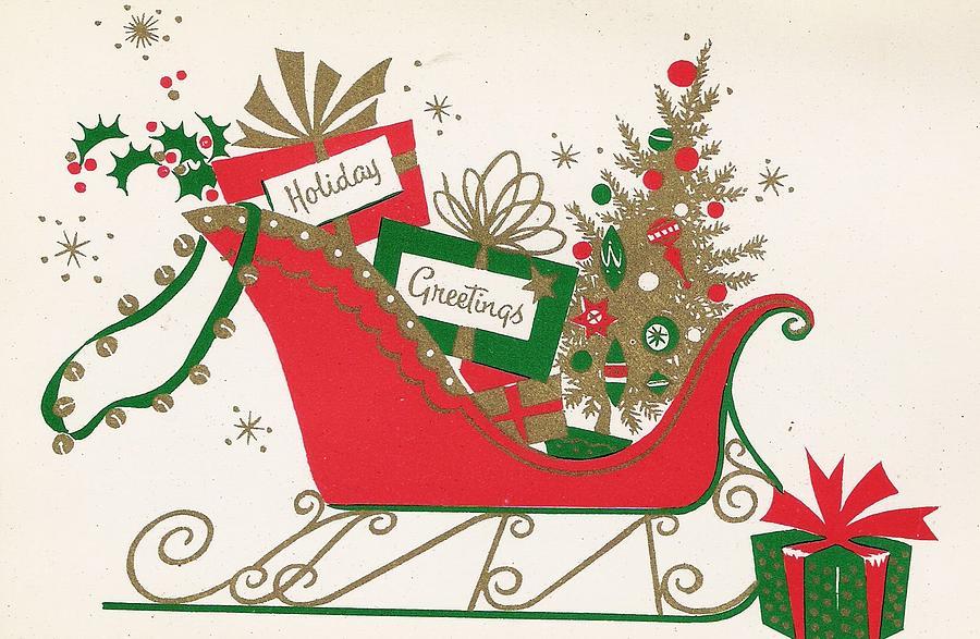 Christmas Illustration 952 - Vintage Christmas Cards - Christmas Gifts On Sleigh & Christmas Illustration 952 - Vintage Christmas Cards - Christmas Gifts ...