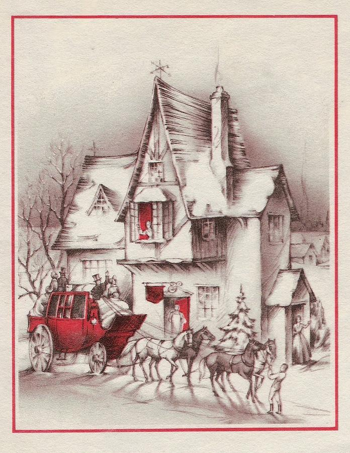 Horse Drawn Carriage Painting - Christmas Illustration 96 - Horse Drawn Carriage And House by TUSCAN Afternoon
