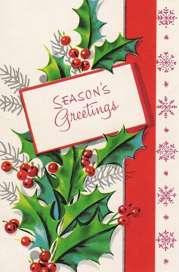 Christmas Illustration 981 Vintage Christmas Cards Mistletoe