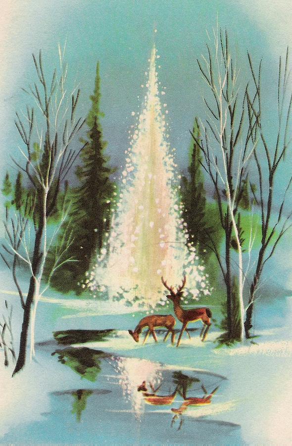 Vintage Christmas Illustrations.Christmas Illustration 989 Vintage Christmas Cards Decorated Christmas Trees