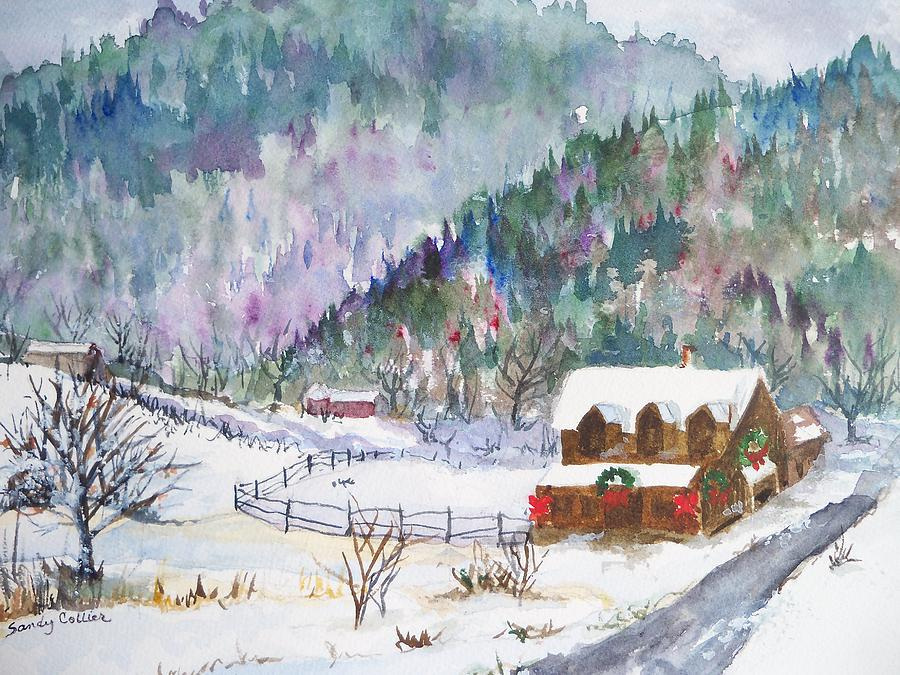 Watercolor Painting - Christmas In The Mountains by Sandy Collier
