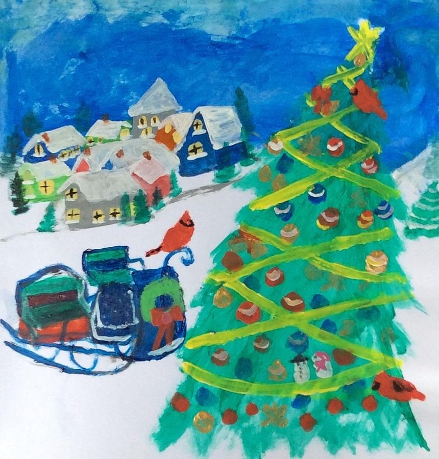 Houses Painting - Christmas  by Julie Thomas-Zucker