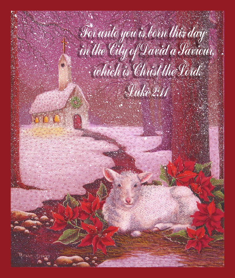 christmas digital art christmas lamb with scripture card by teresa frazier - Christmas Card Scripture
