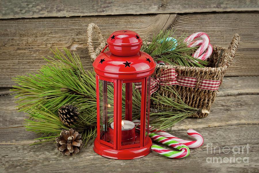 Christmas Lantern With Basket Photograph