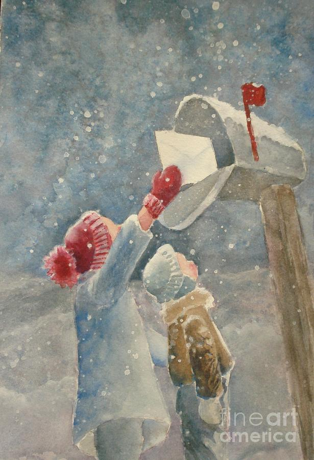 Snow Painting - Christmas Letter by Marilyn Jacobson