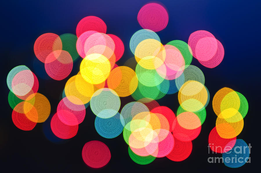 Blurred Photograph - Christmas Lights Abstract by Elena Elisseeva
