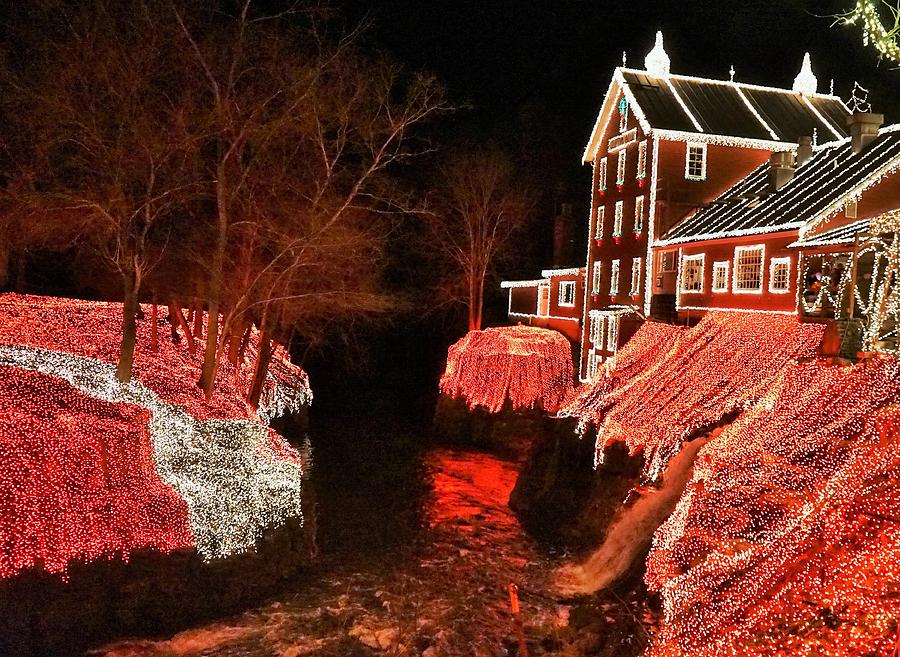 Christmas Digital Art - Christmas Lights At Clifton Mill by Barkley Simpson