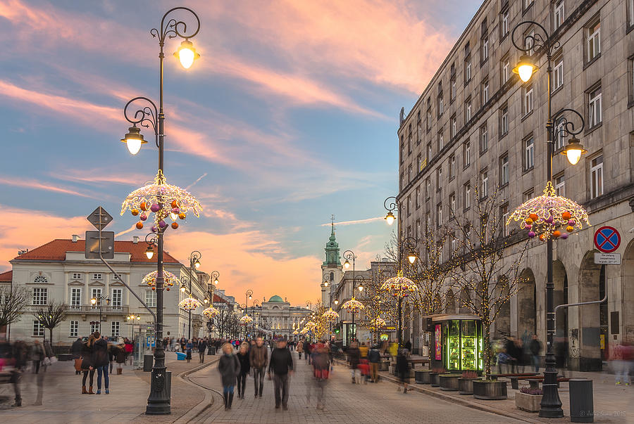Christmas Lights In Warsaw Photograph