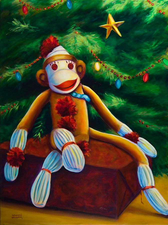 Sock Monkey Painting - Christmas Made Of Sockies by Shannon Grissom