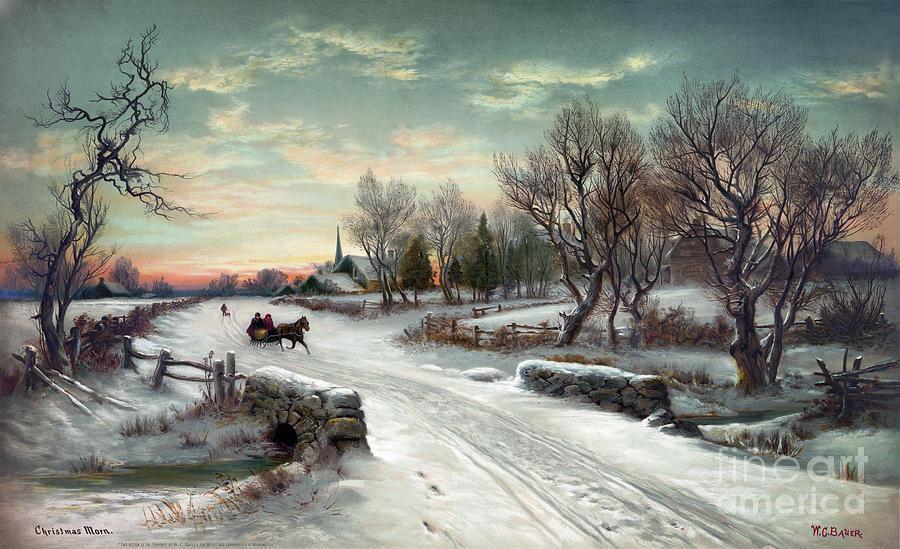 1885 Photograph - Christmas Morn, C1885 by Granger