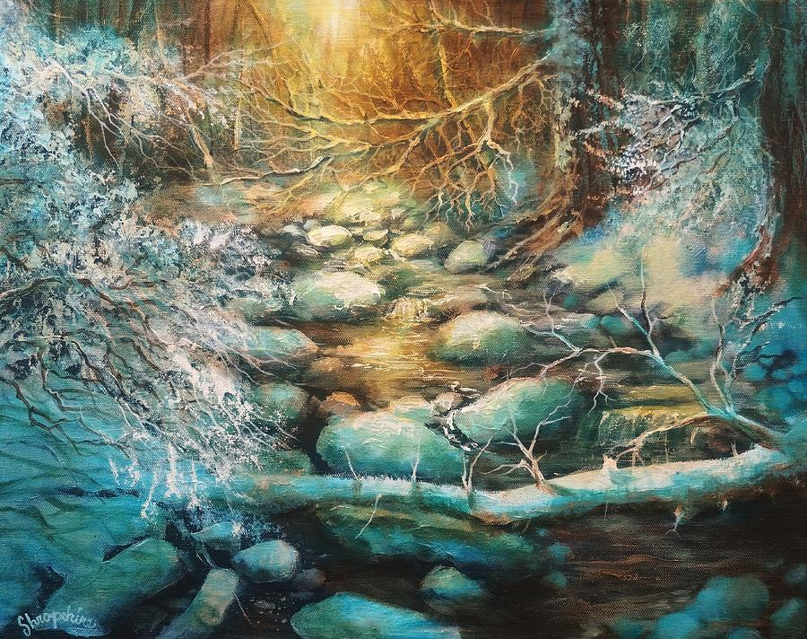 Forest Stream Painting - Christmas Morning by Tom Shropshire