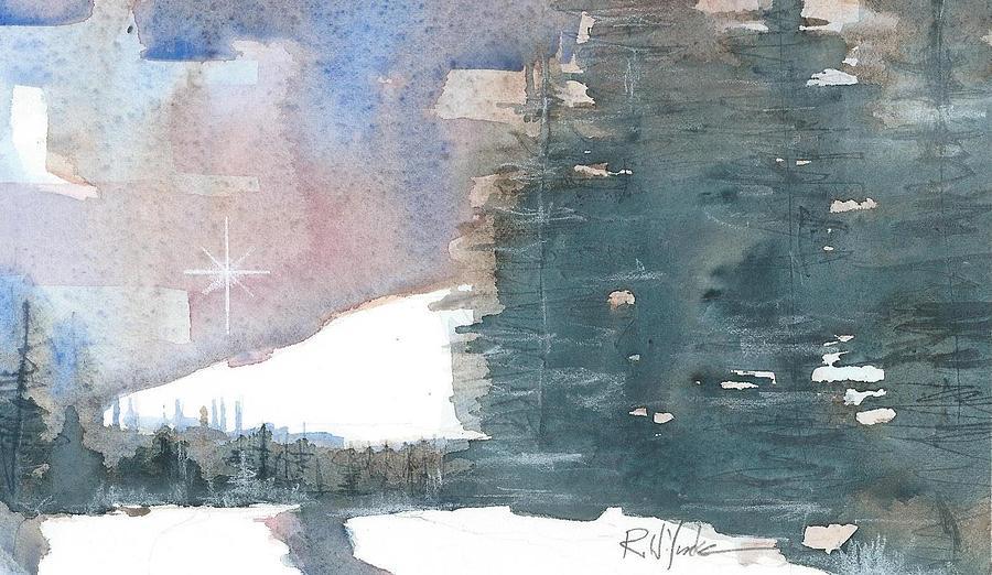 Christmas Card Painting - Christmas Night Star  by Robert Yonke