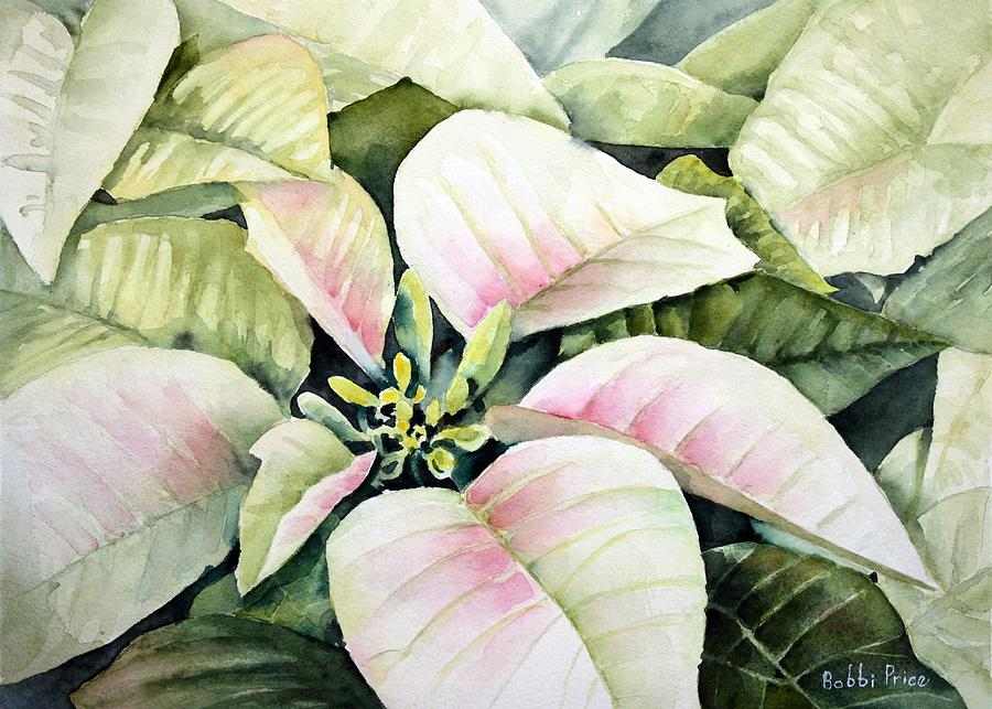 Watercolor Floral Painting - Christmas Poinsettias by Bobbi Price