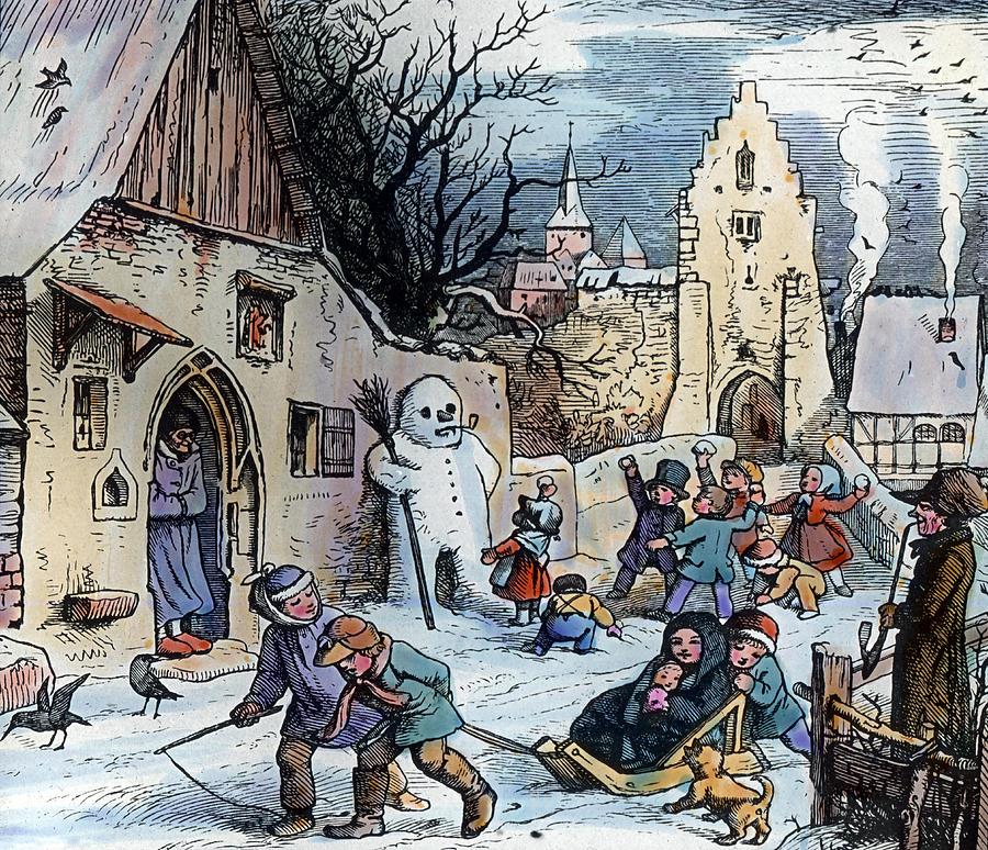 Christmas Scene Painting By German School: christmas card scenes to paint