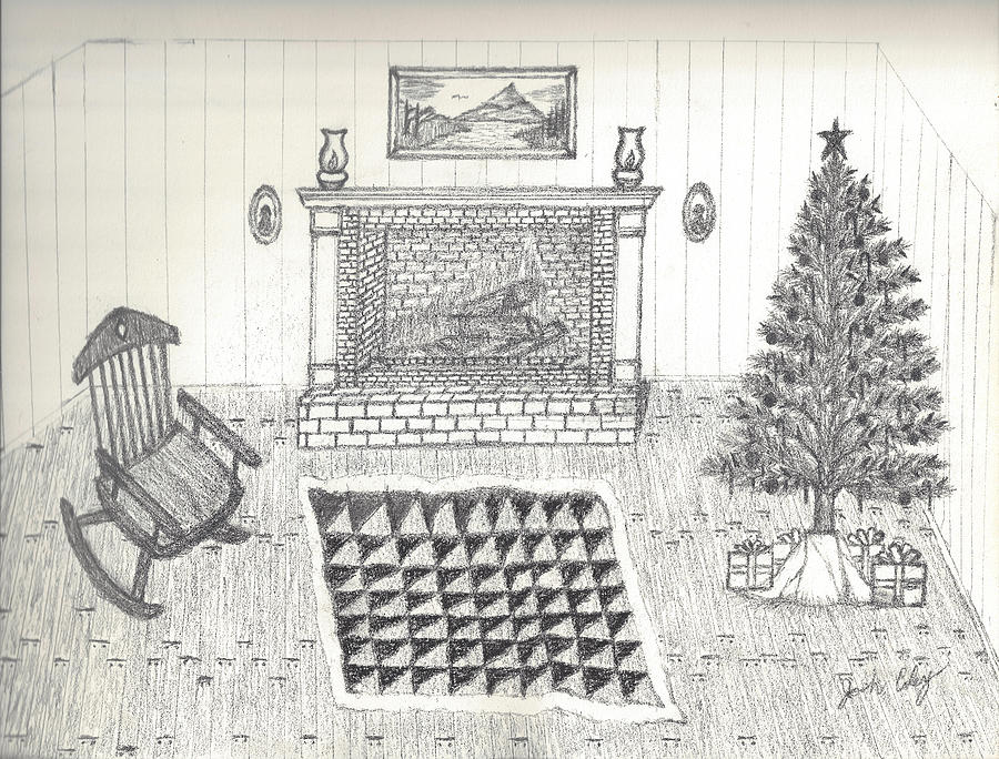 Christmas Scene Drawing.Christmas Scene