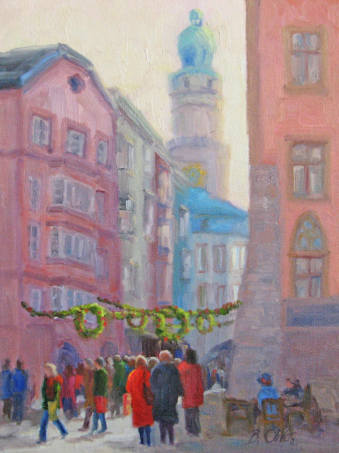 Street Scene Painting - Christmas Shopping - Innsbruck by Bunny Oliver