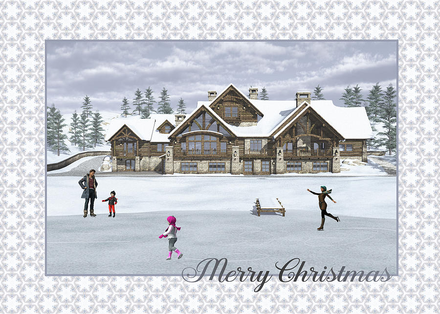 Christmas Skaters Greeting Card by Jayne Wilson