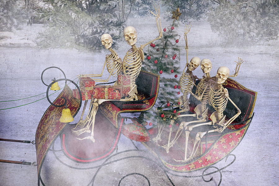 Skeleton Digital Art - Christmas Spirits Heading To Topsail Island Nc by Betsy Knapp