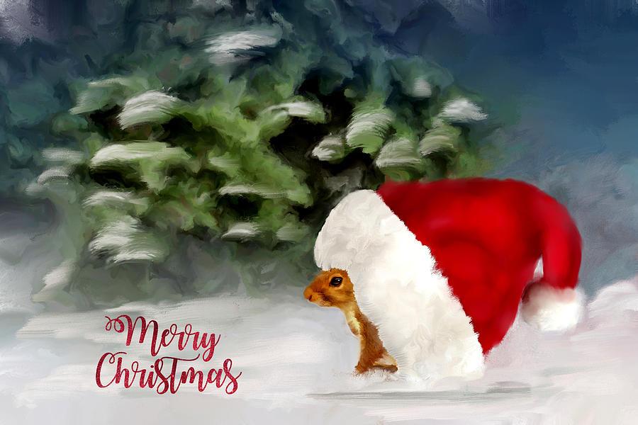 Christmas Squirrel.Christmas Squirrel Greeting Card