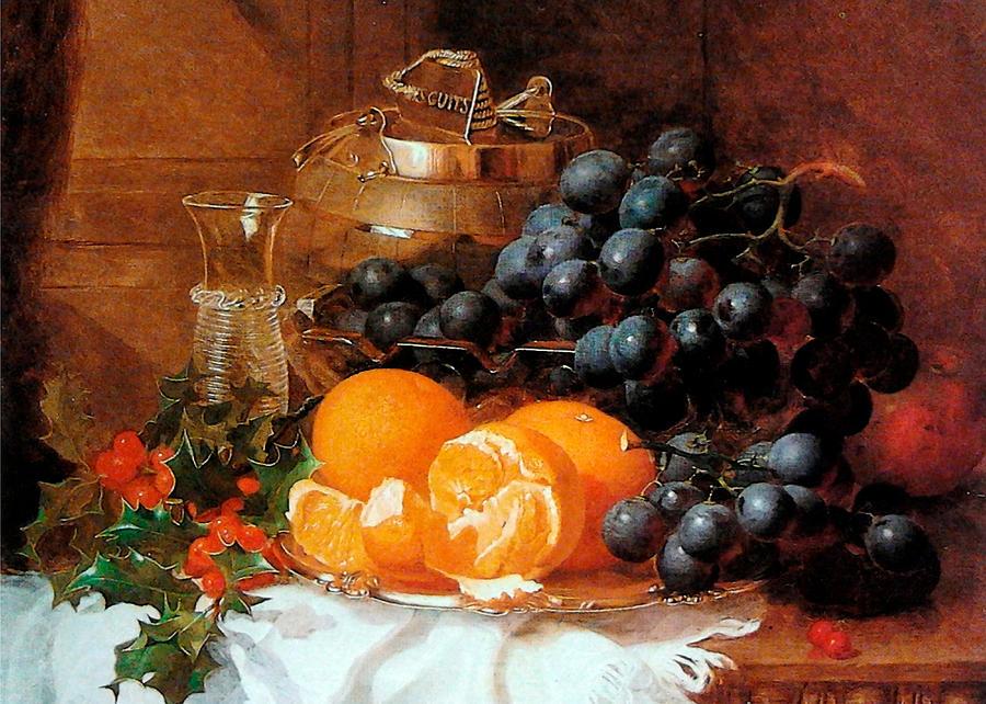 Grapes Digital Art - Christmas Still Life by Eloise Harriet Stannard by Sarah Vernon