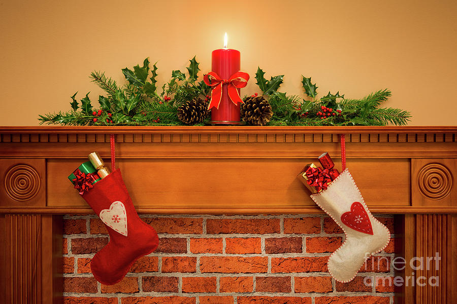 Christmas Stockings Hanging On The Fireplace By Richard Thomas