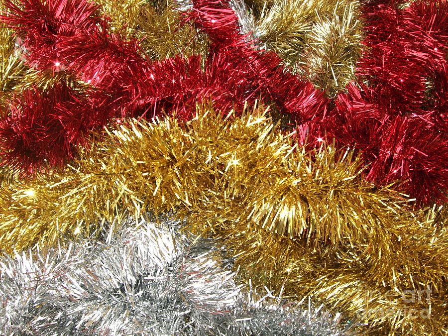 Red Photograph - Christmas Tinsel by Deborah Brewer