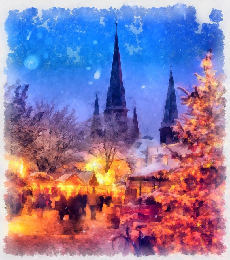 Christmas Painting - Christmas Town by Esoterica Art Agency