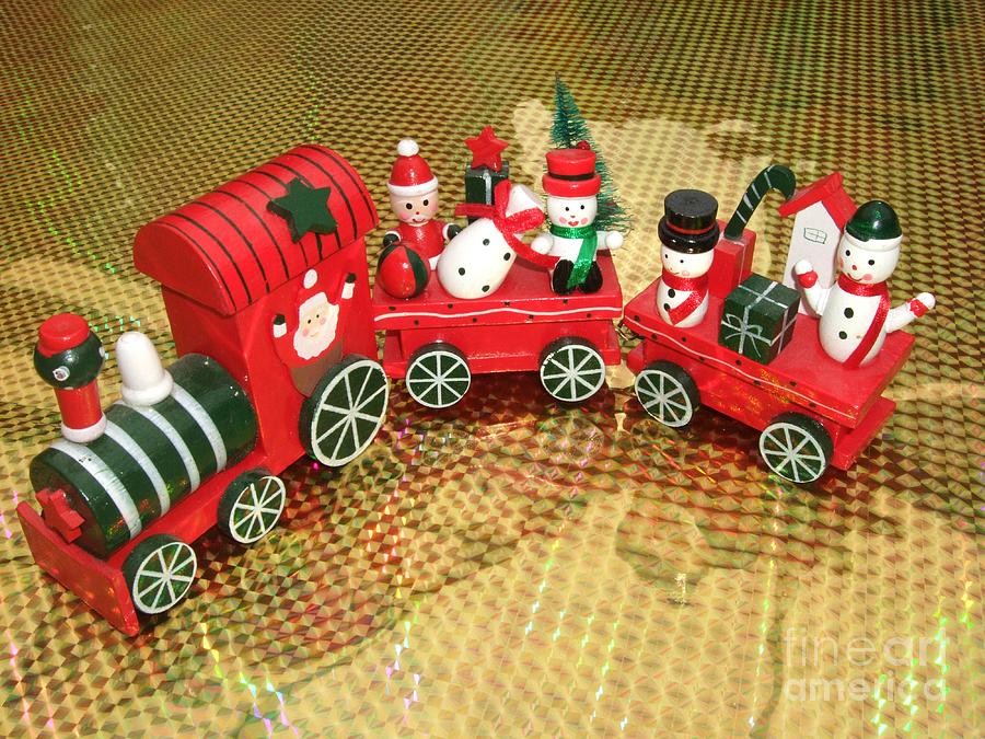 Red Photograph - Christmas Train by Deborah Brewer