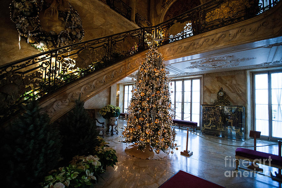 travel photograph christmas tree and staircase marble house newport rhode island by jason o watson