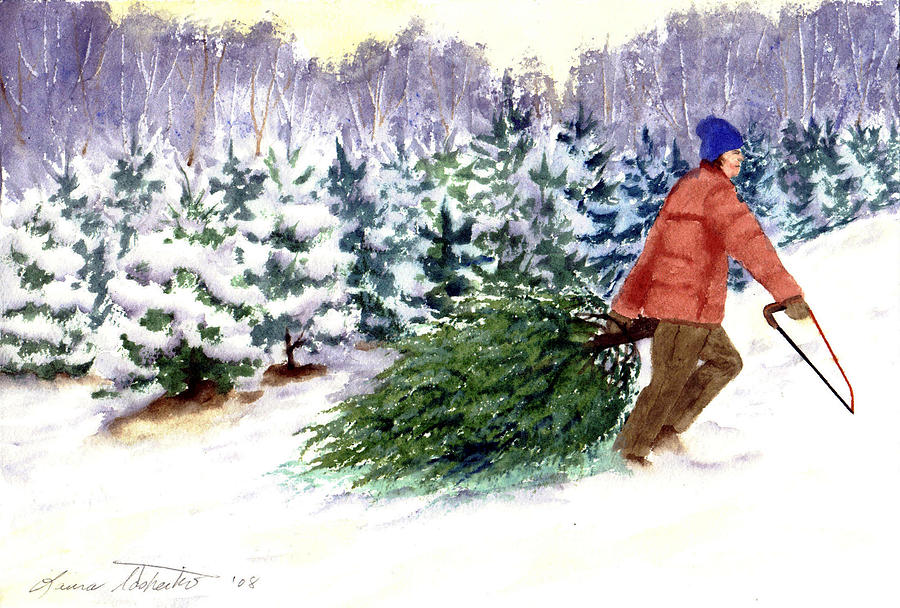 Christmas Tree Farm Painting By Laura Tasheiko