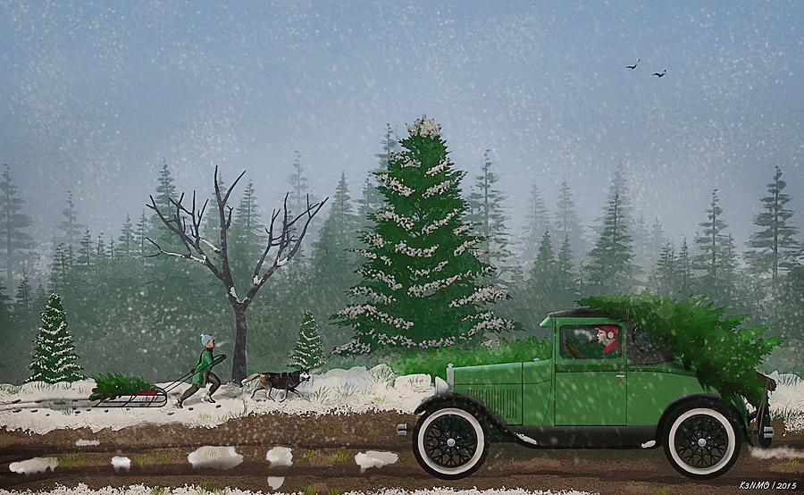 Christmas Tree Hunters Digital Art