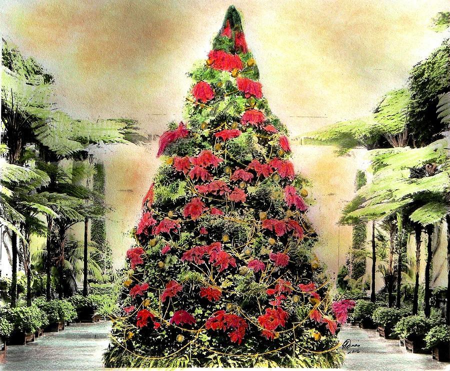 Poinsettia Tree Photograph - Christmas Tree Oh Christmas Tree by Angela Davies