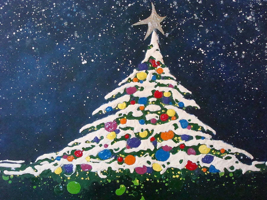 Christmas tree painting by paula weber