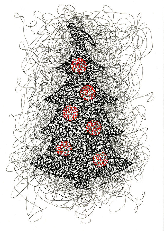 Christmas Drawing - Christmas Tree Pen and Ink Drawing by Karla Beatty