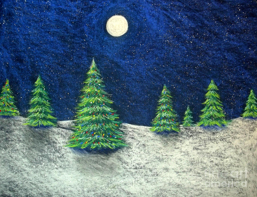 Christmas Drawing - Christmas Trees In The Snow by Nancy Mueller