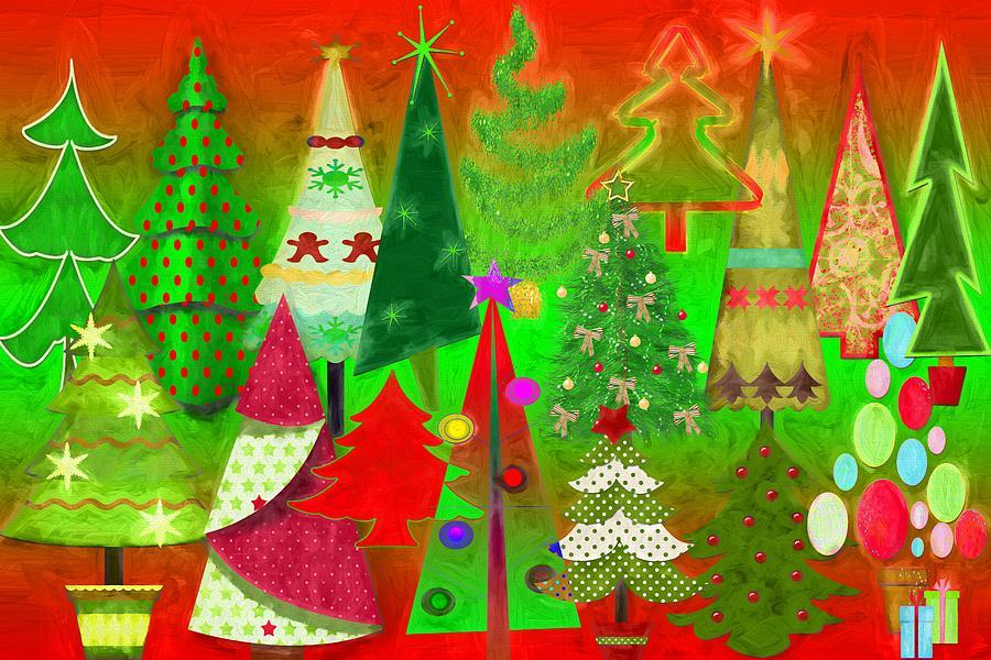 Christmas Digital Art - Christmas Trees by Steve Ohlsen