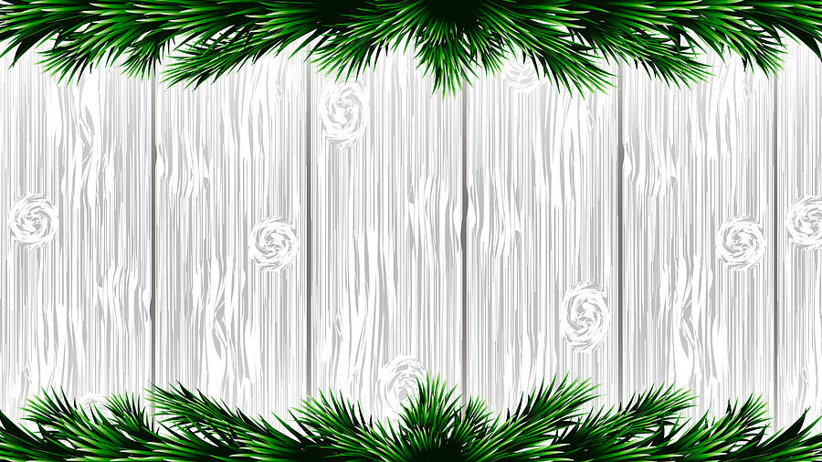 Christmas Branch Vector.Christmas White Wooden Background With Green Fir Branches Vector Illustration