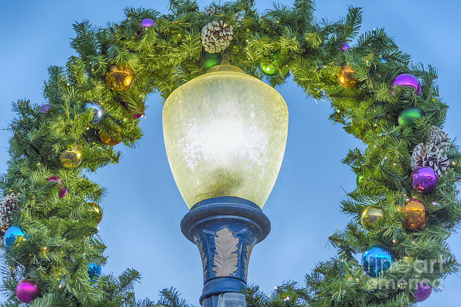 Long Beach Photograph - Christmas Wreath Lampost by David Zanzinger