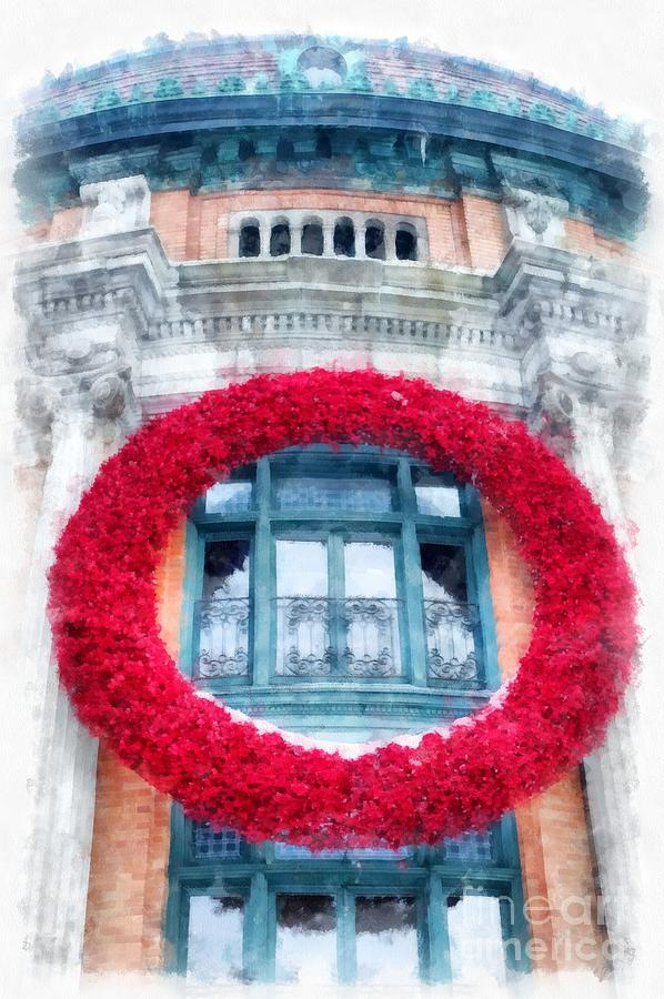 Quebec Photograph - Christmas Wreath Old Quebec City by Edward Fielding